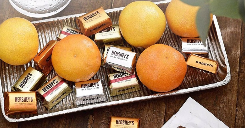 Hershey's Chocolates with oranges on a tray