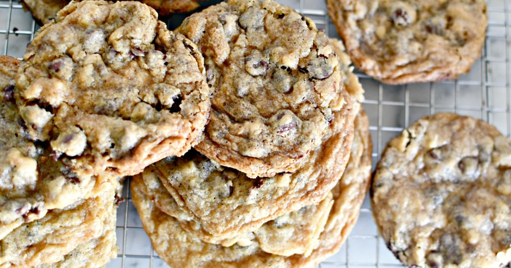 Hilton chocolate chip cookies on a cooling rack