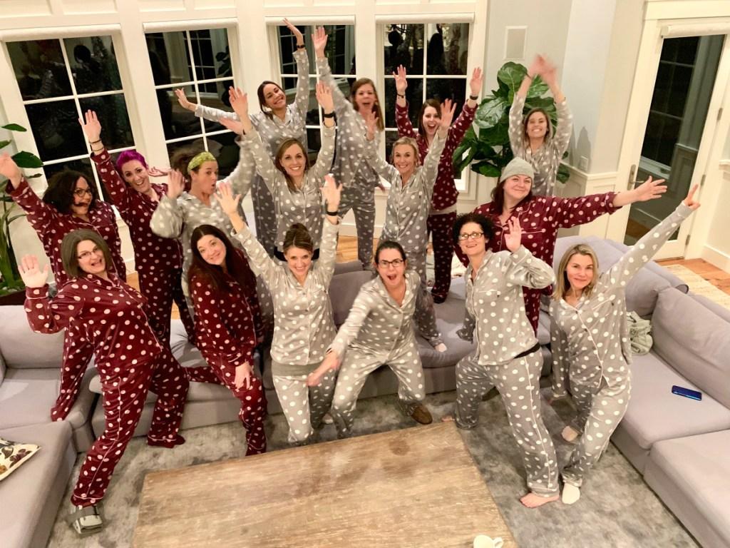 group of women in pajamas