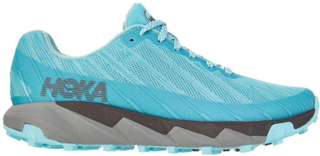 Women's Hoka Trail running shoe in bright aqua