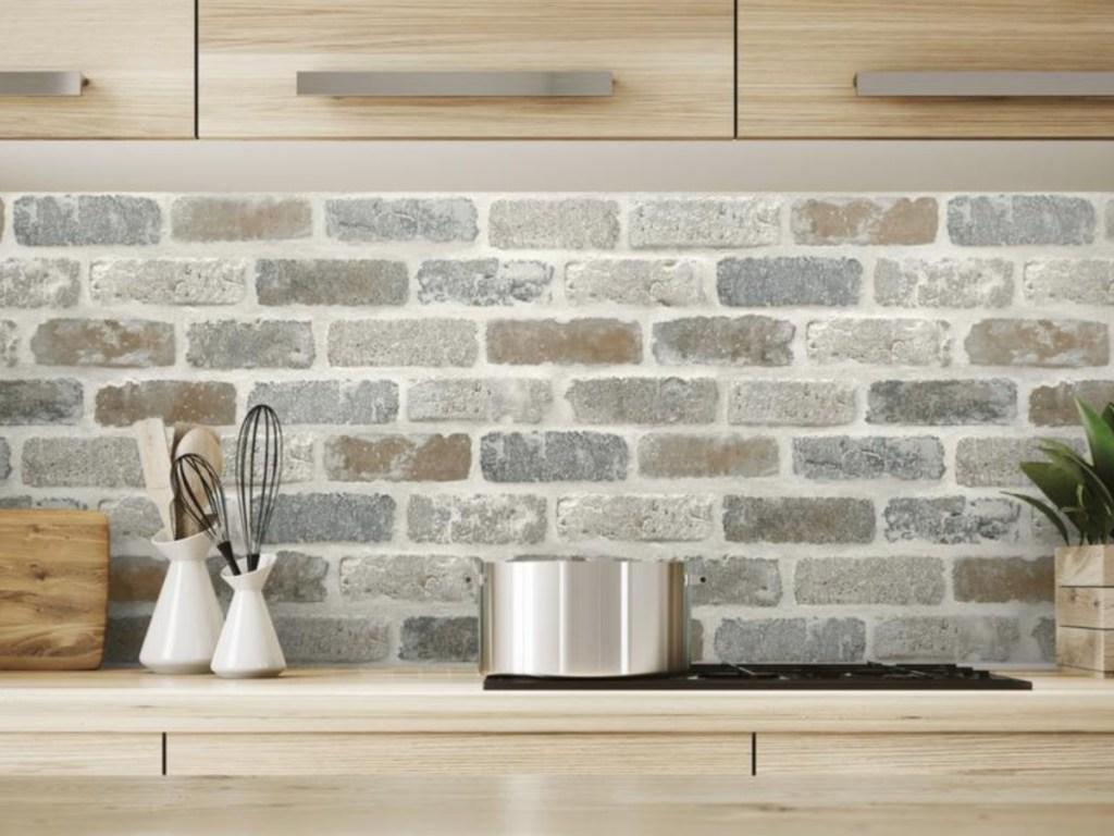 brick wallpaper on kitchen wall