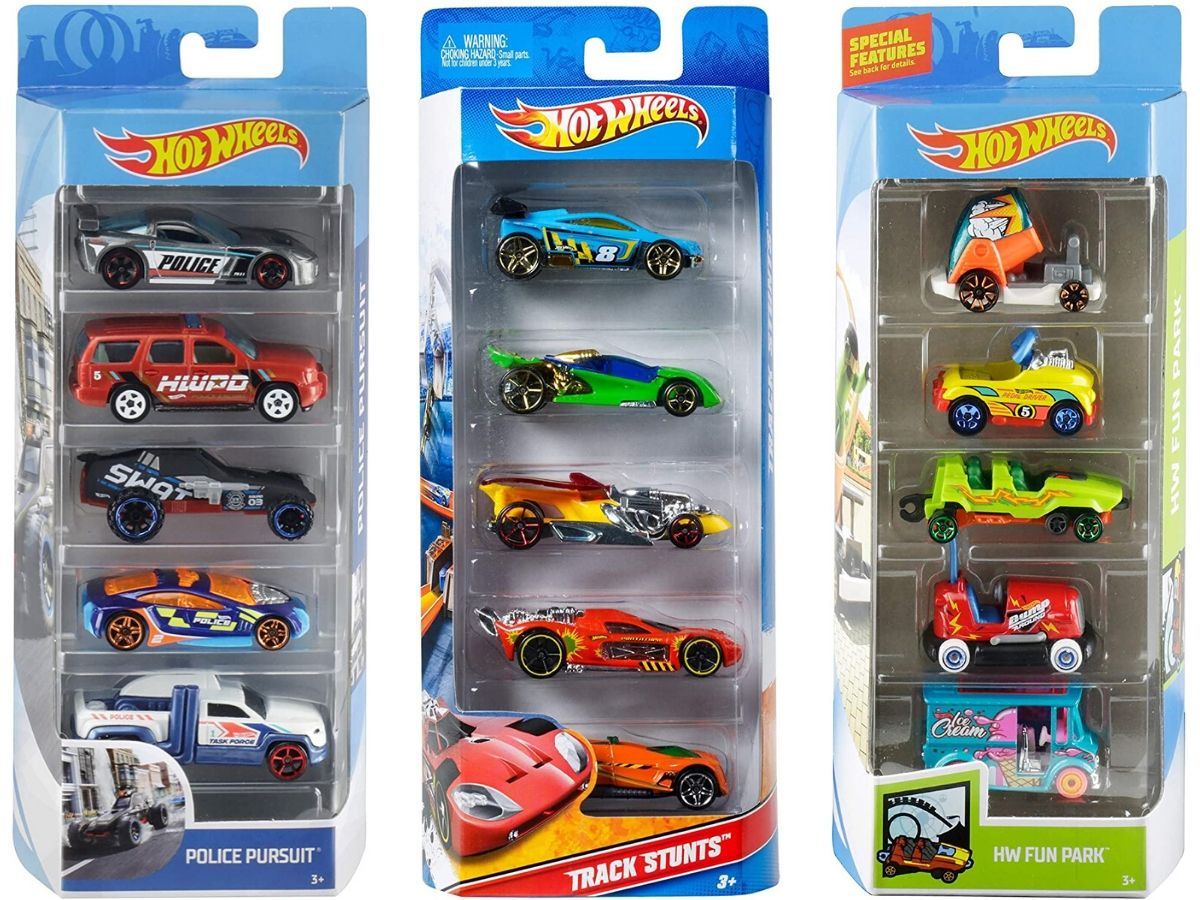 Three Hot Wheels Cars 5 Packs