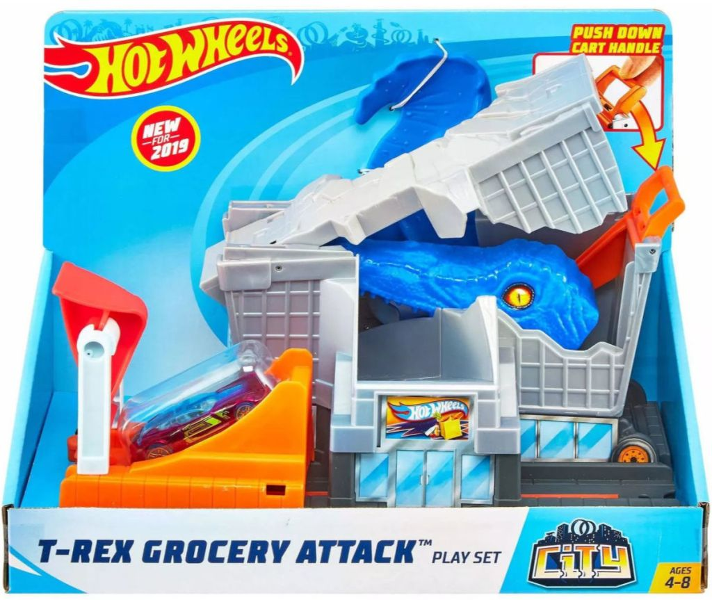 Hot Wheels City T-Rex Grocery Attack Playset box
