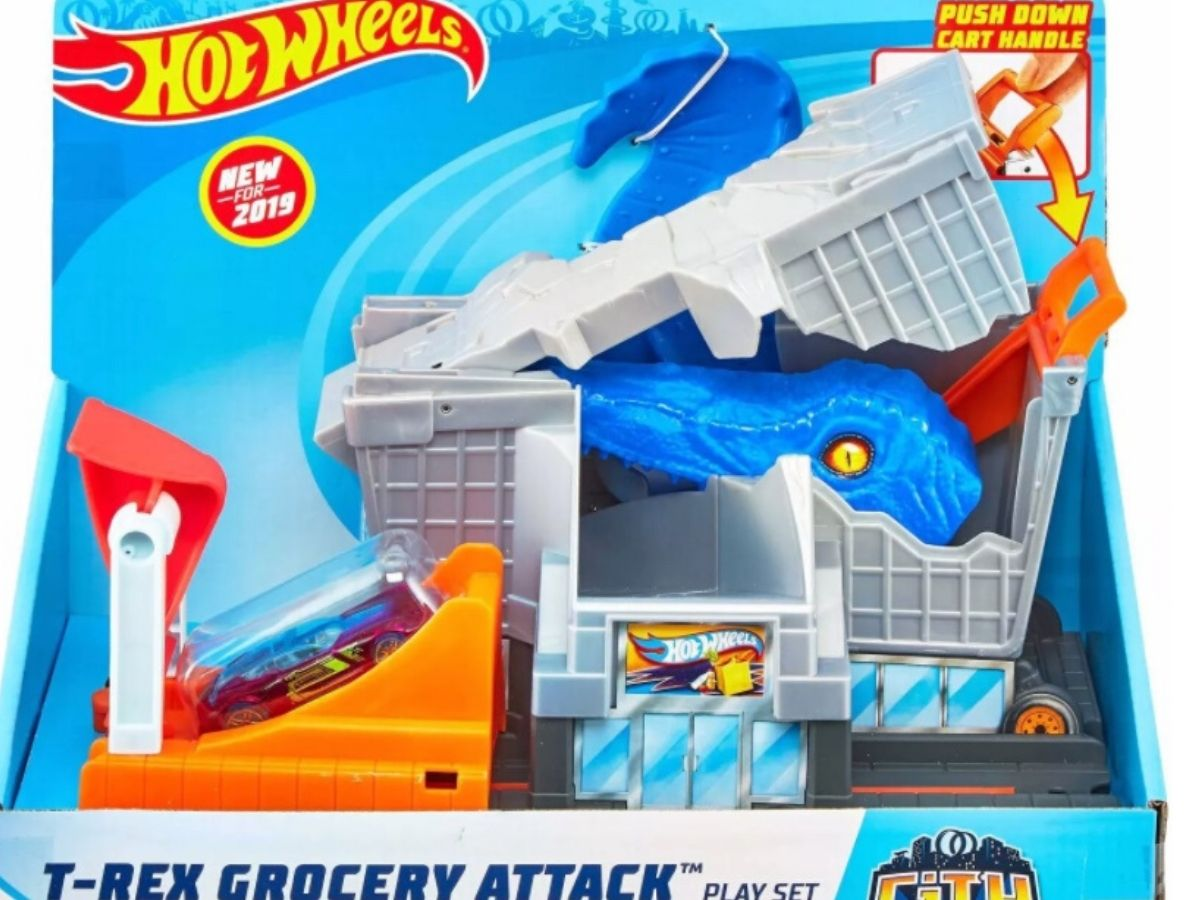hot wheels t-rex grocery attack playset in box