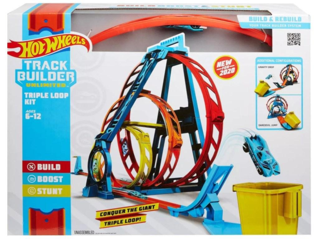 box of Hot Wheels Track Builder Unlimited Triple Loop Kit