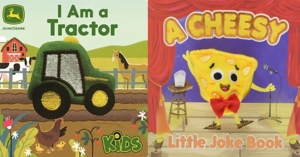 book covers of I am a tractor and a cheesy little joke book