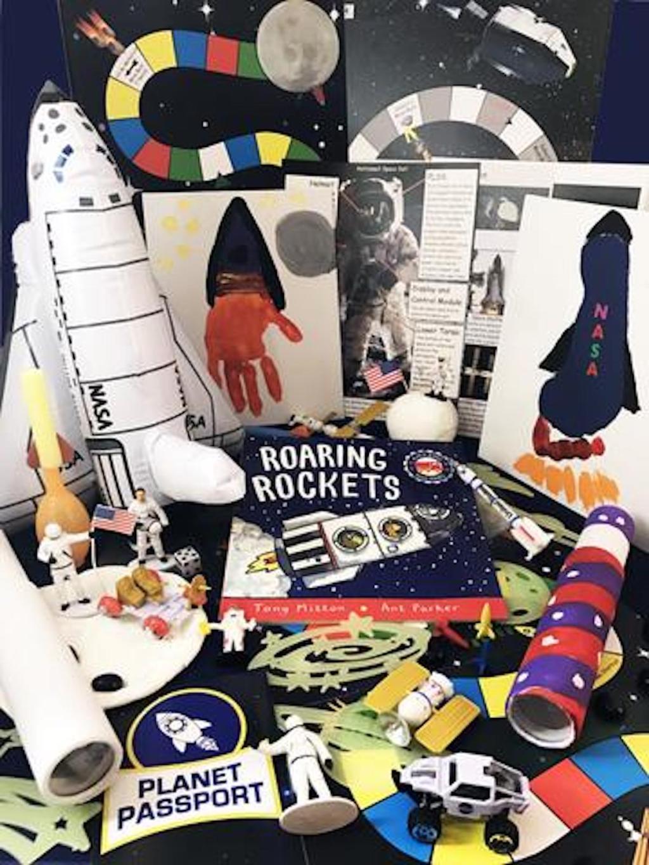 various rocket ship activities on display