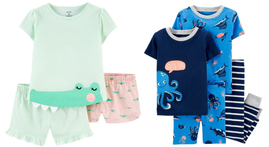 two pairs of 3 piece baby pajamas, one light green with pink shorts, and one blue with octopus print