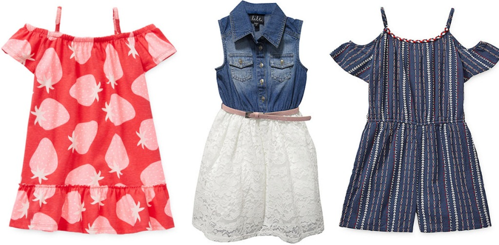 three girls dresses, one red with strawberry print, one denim with white lace skirt, and one blue striped romper