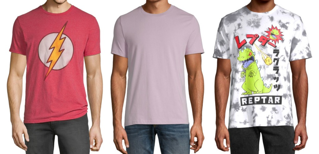 three men modeling t-shirts, one red with flash logo, one plain lilac color, and one graphic shirt with reptar