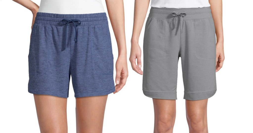 two women in cotton tie waist shorts, one in navy blue and one in grey colors
