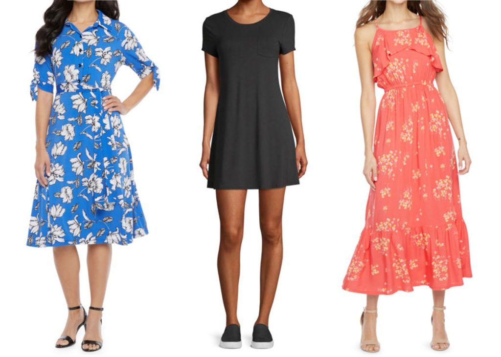 three women modeling dresses, one blue floral, one plain black tshirt dress, and one red floral with ruffles at bottom