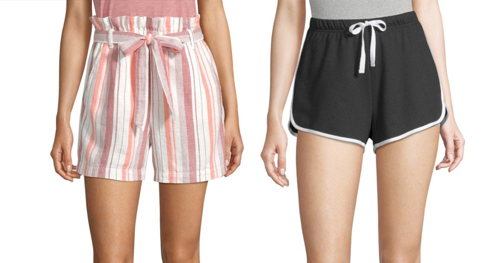 two women wearing shorts, one in white and pink stripes and one in black with white tie at waist