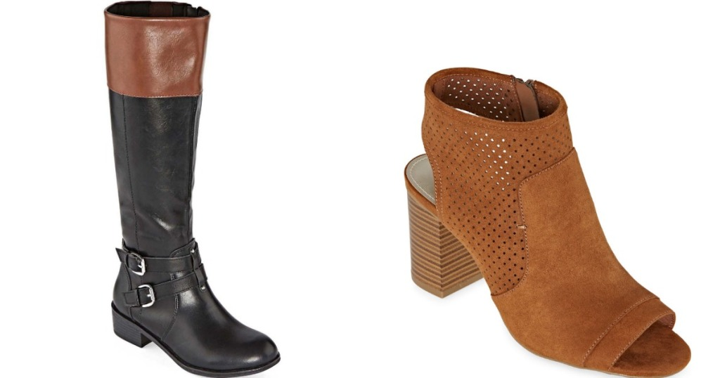 black and tan boot next to tan bootie