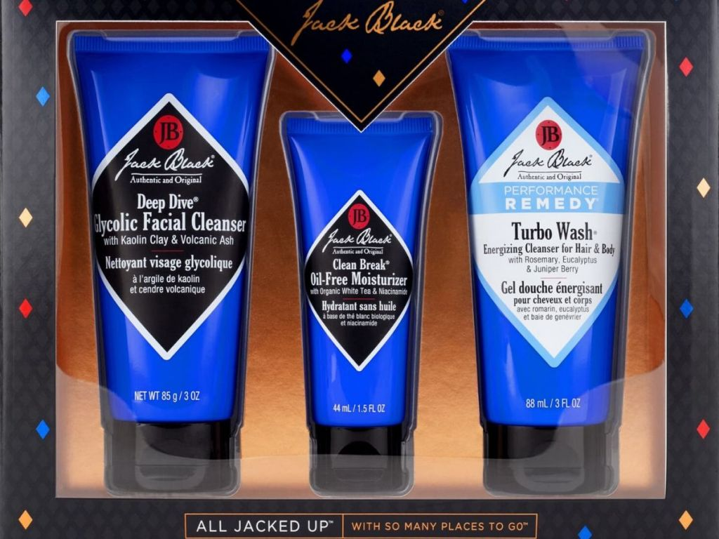 3 piece boxed gift set of Jack black skincare