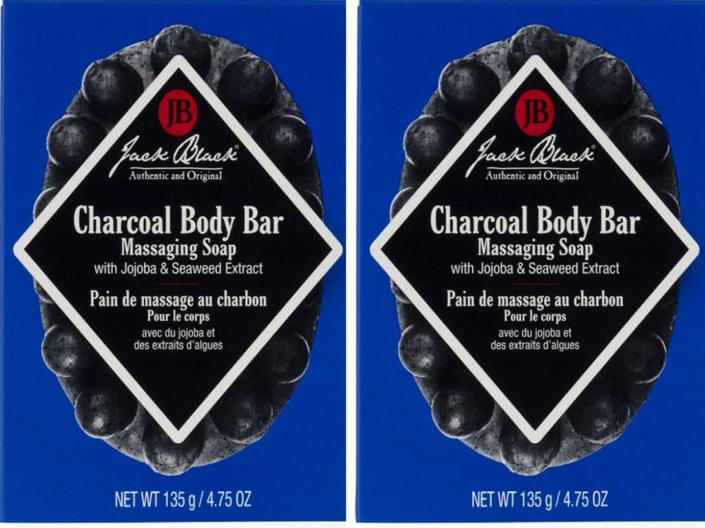 two bars of jack black charcoal soap