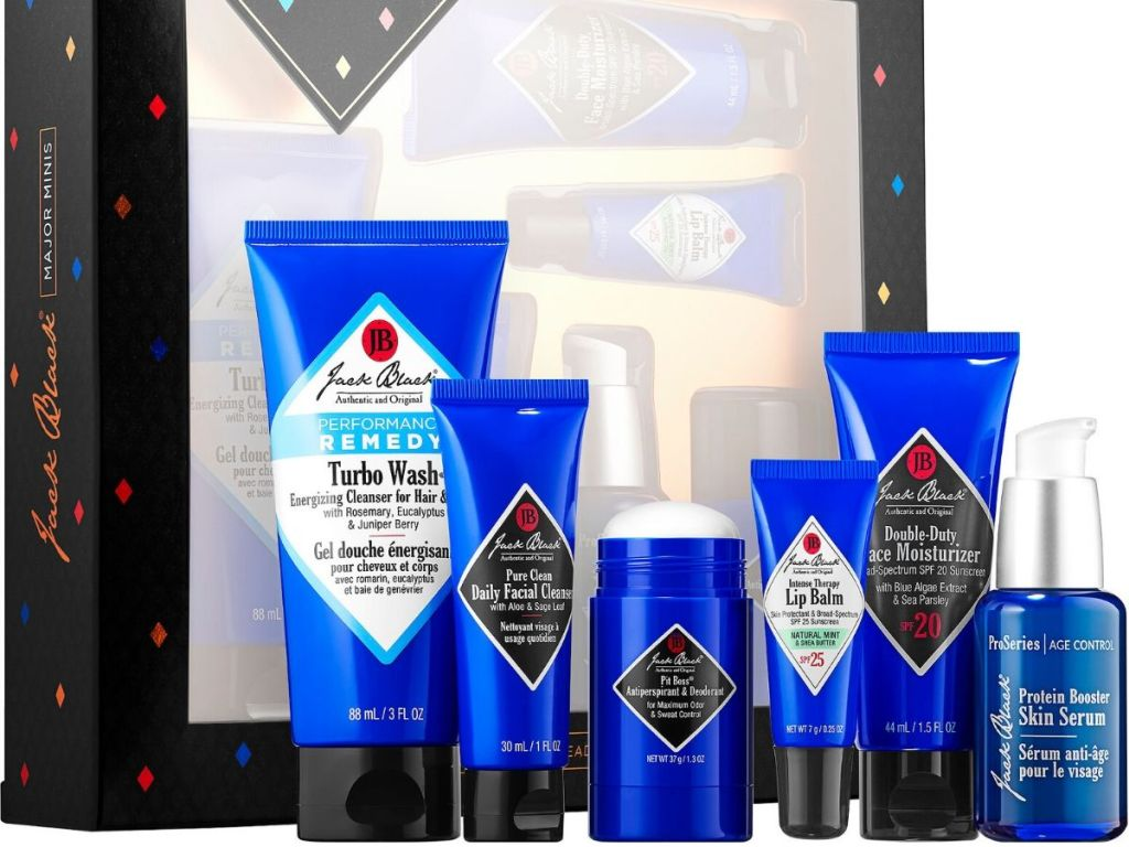6 piece jack black skincare gift set