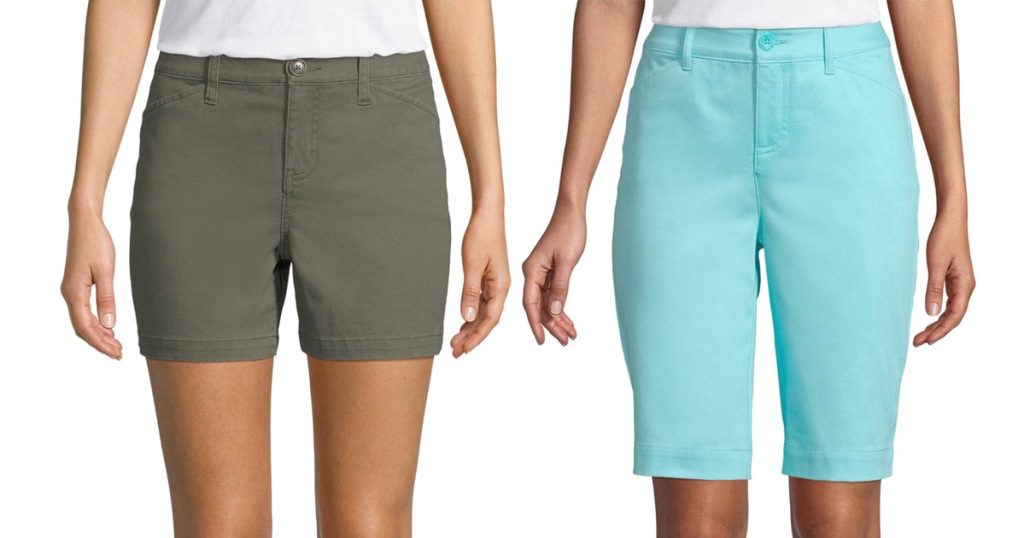 two women wearing shorts, one olive green and one bright teal colors