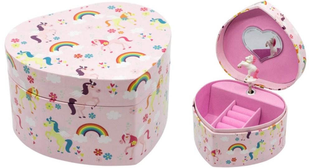 jewelry box with unicorns and rainbows