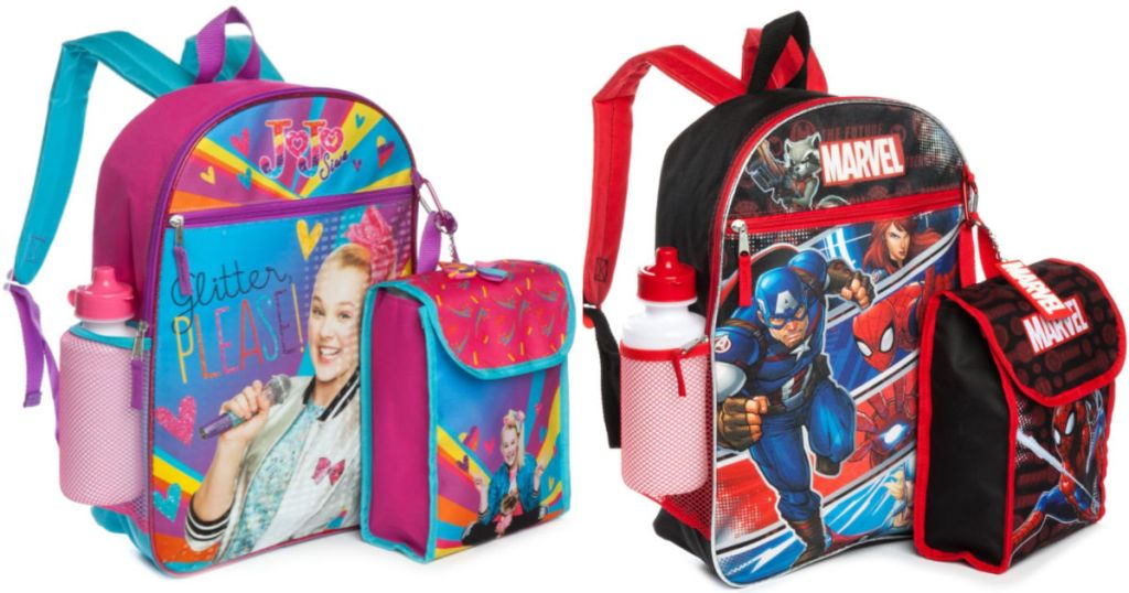 JoJo Swia & Marvel 5 Piece Back Pack Set with lunch box, water bottle, and backpack