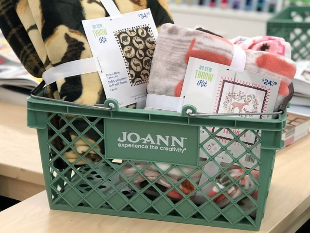 Basket at Joann fabric store filled with blankets