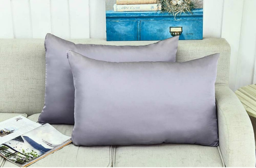 two pillows inside of gray pillowcases on a couch