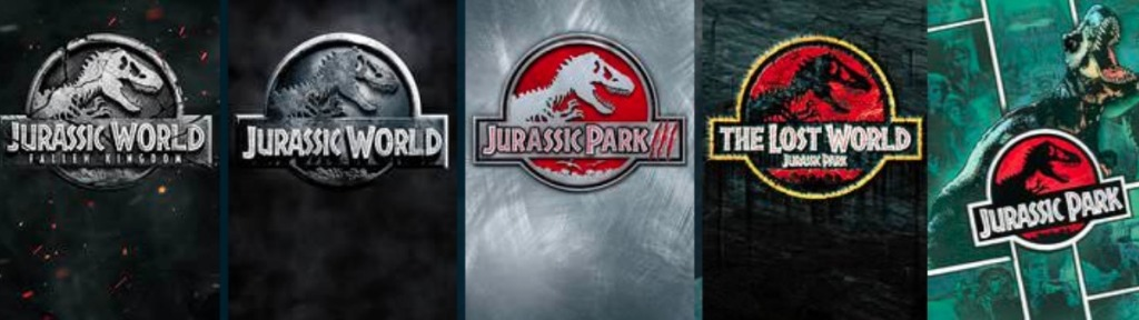 five Jurassic movie covers