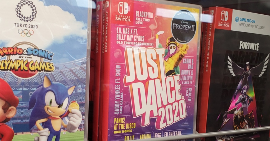 dancing video game on store shelf