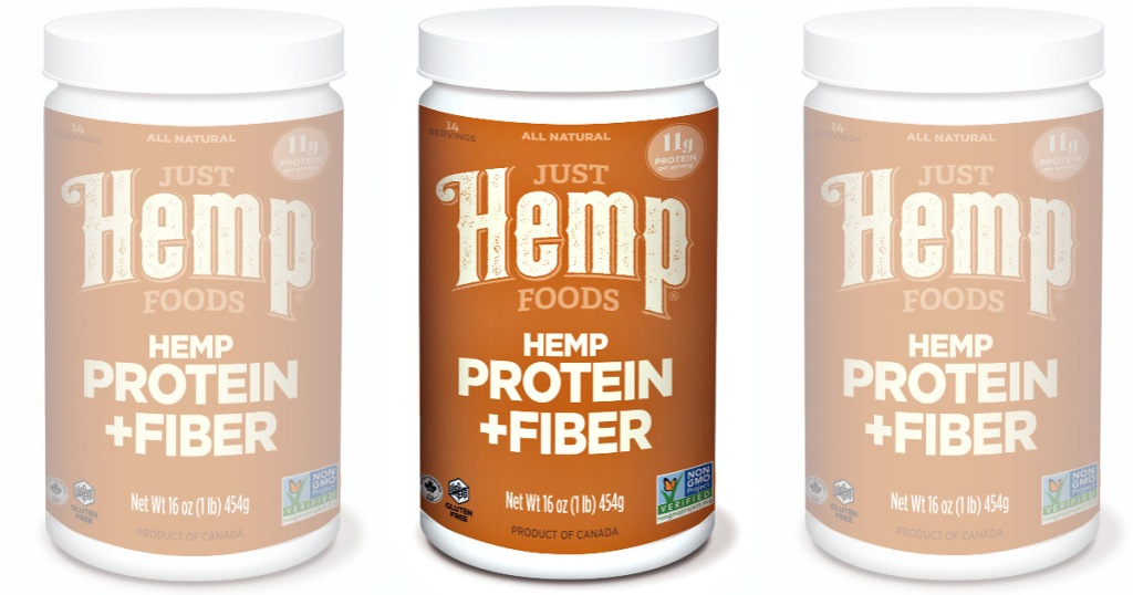 three brown and white containers of just hemp protein and fiber powder