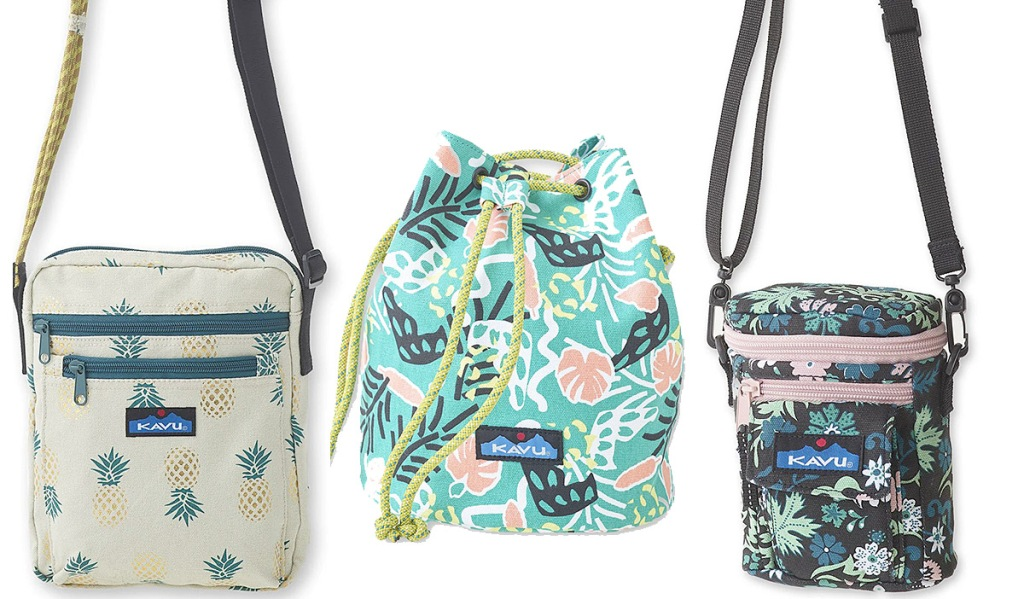two small canvas crossbody bags and a cinch top bag in tropical prints