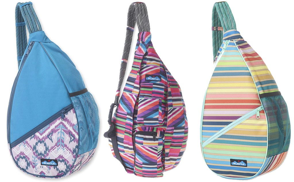 three canvas sling backpacks with rope straps in various colorful prints