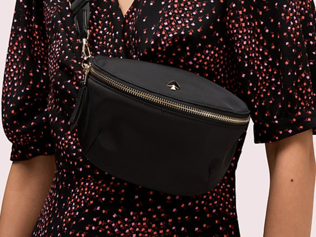 woman wearing belt bag