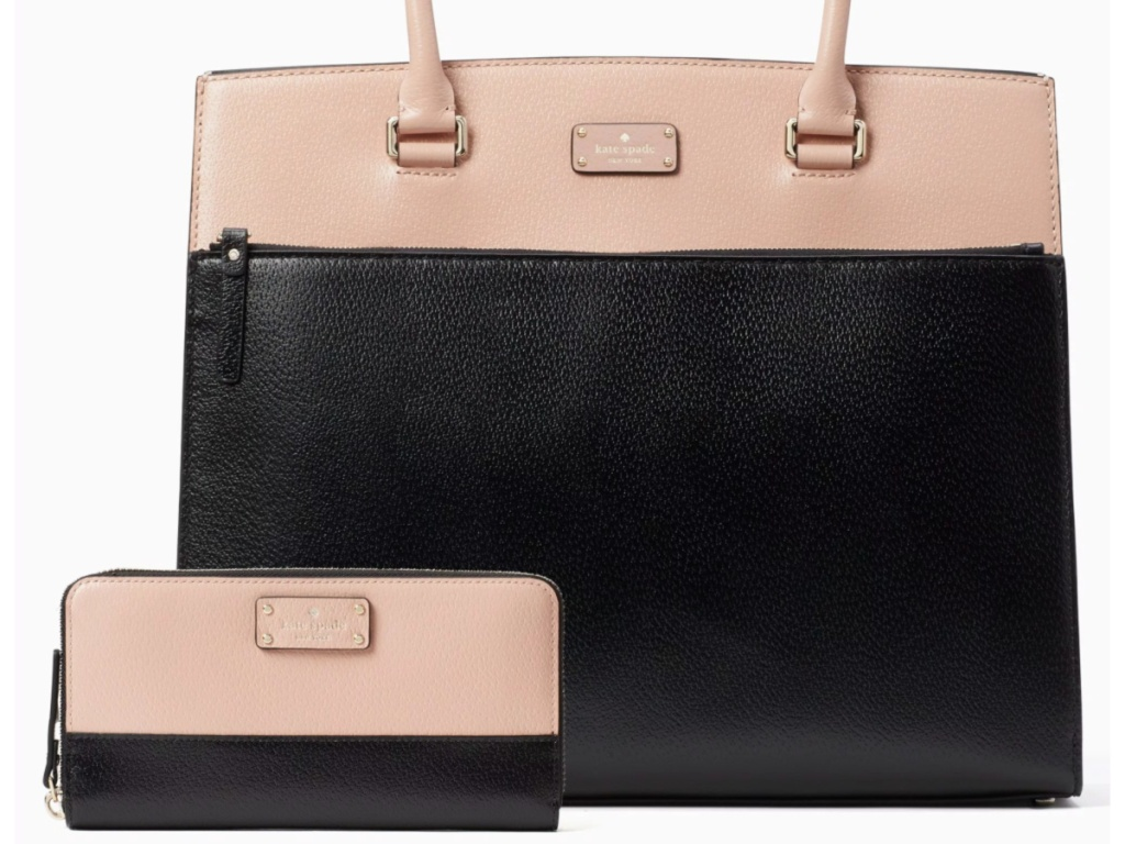 black and pink kate spade tote and wallet