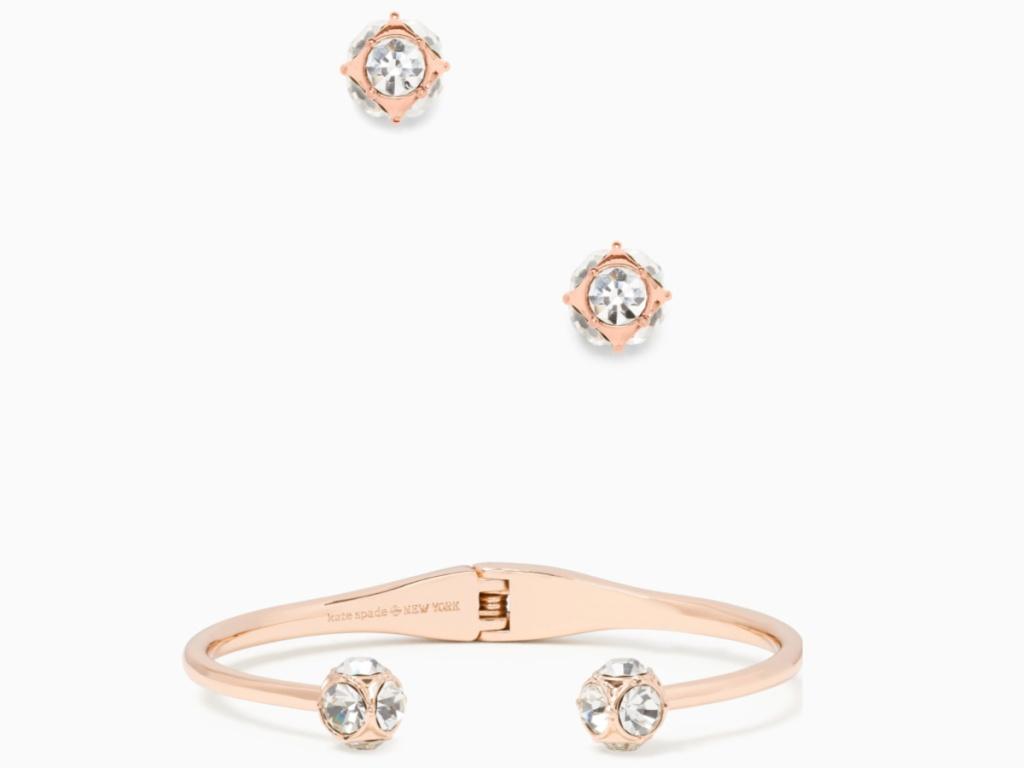 rose gold studs and bangle