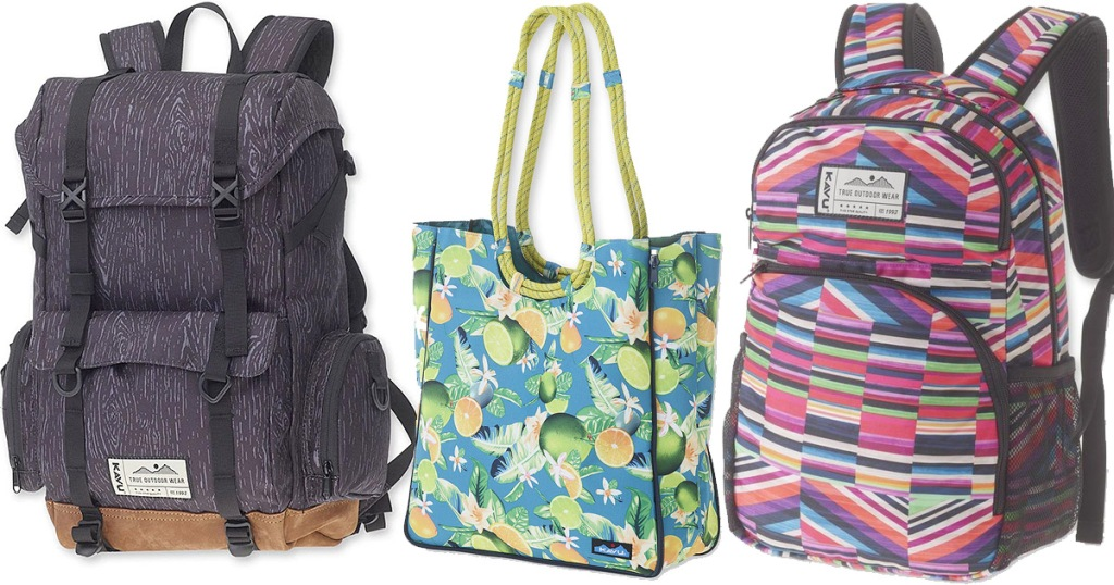 two canvas backpacks and a tote bag in colorful prints