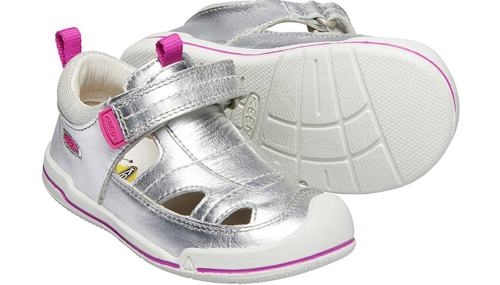 silver girls velcro sandal with pink accents