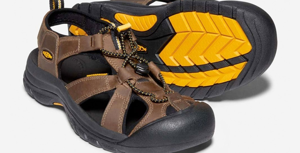 brown leather mens hiking sandals