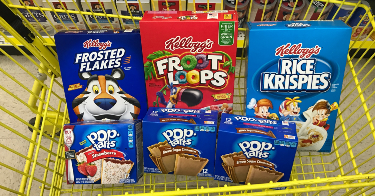 various breakfast items in yellow shopping cart in store