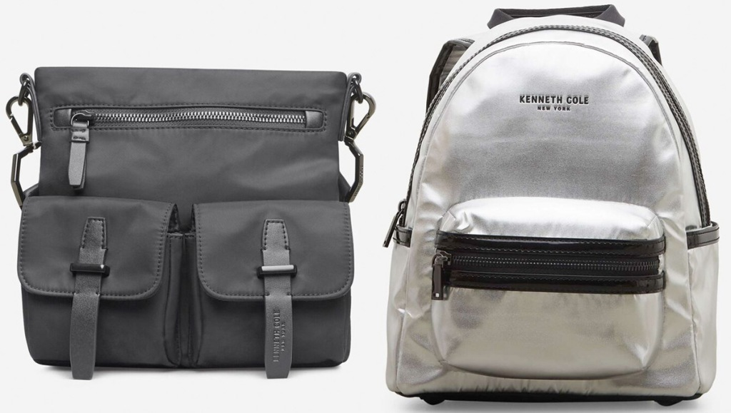 grey utility crossbody bag and silver mini backpack with front zipper pocket