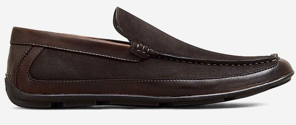 brown leather mens slip-on loafer