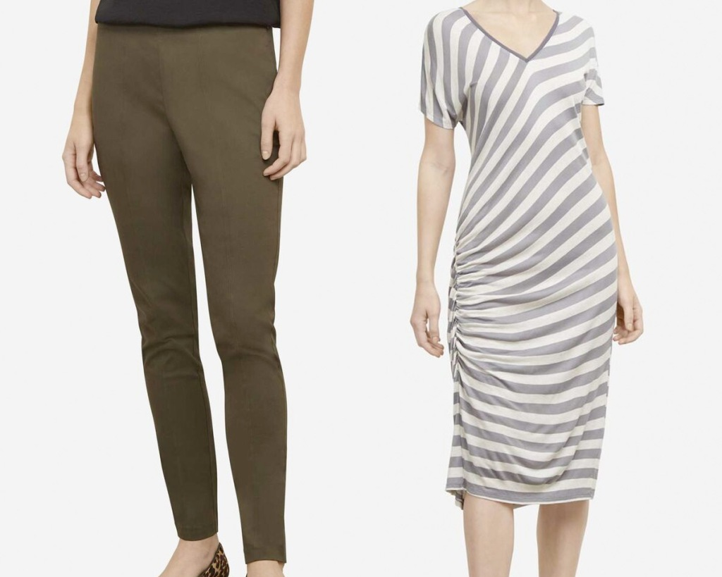 woman wearing olive green skinny pants and woman wearing white and grey striped tshirt dress
