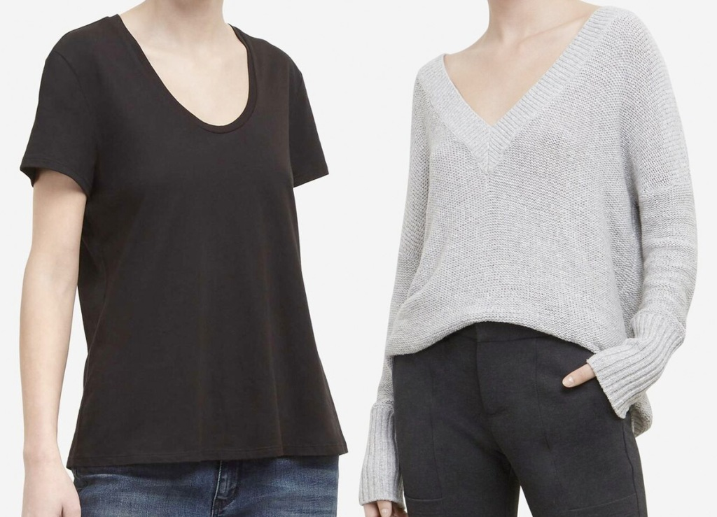 woman wearing plain black scoop-neck shirt and woman wearing light grey v-neck sweater