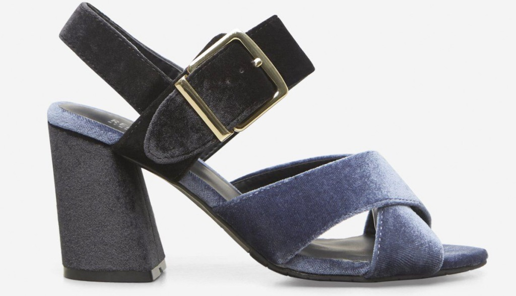 blue velvet womens sandal with a block heel
