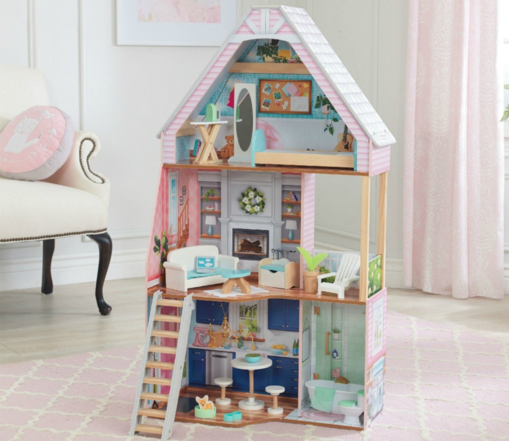 pastl colored dollhouse with furniture