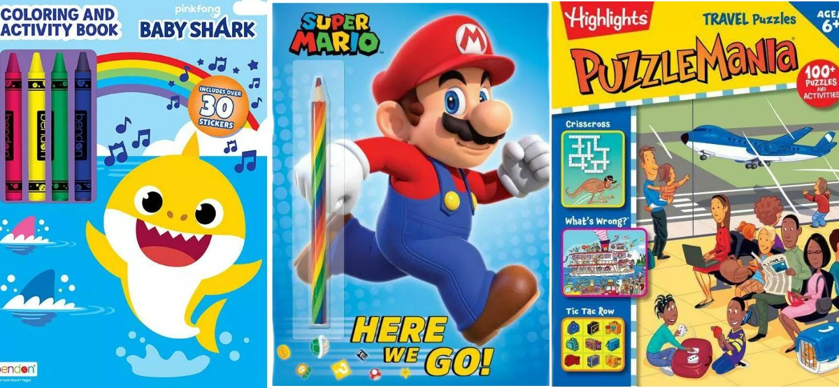 Three character themed activity books for kids - Mario, Baby Shark, & a puzzle book
