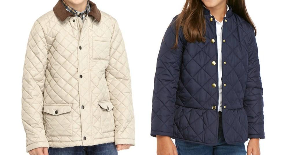 two kids wearing barn jackets