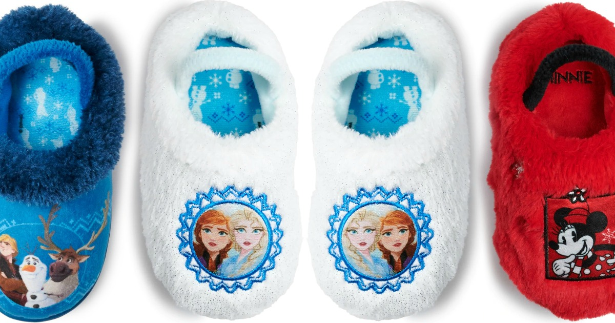 A variety of kids slippers with Disney characters