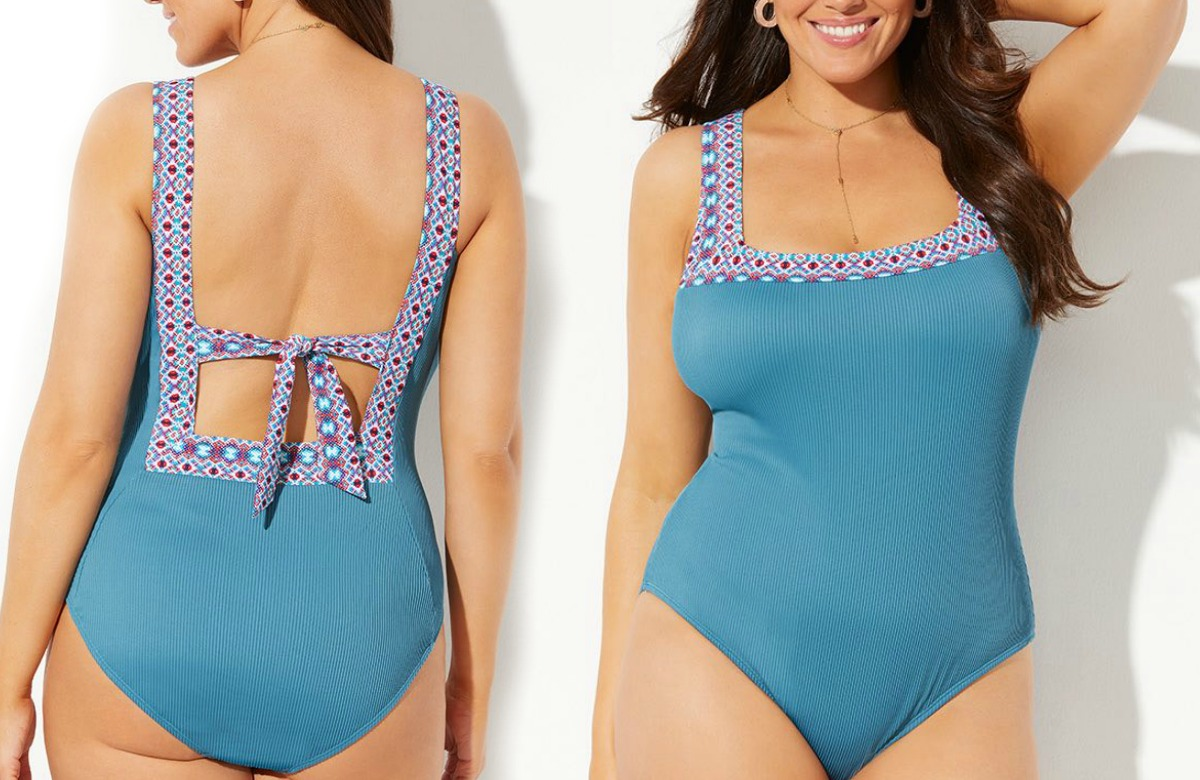 Front and back view of a woman wearing a teal one-piece swimsuit
