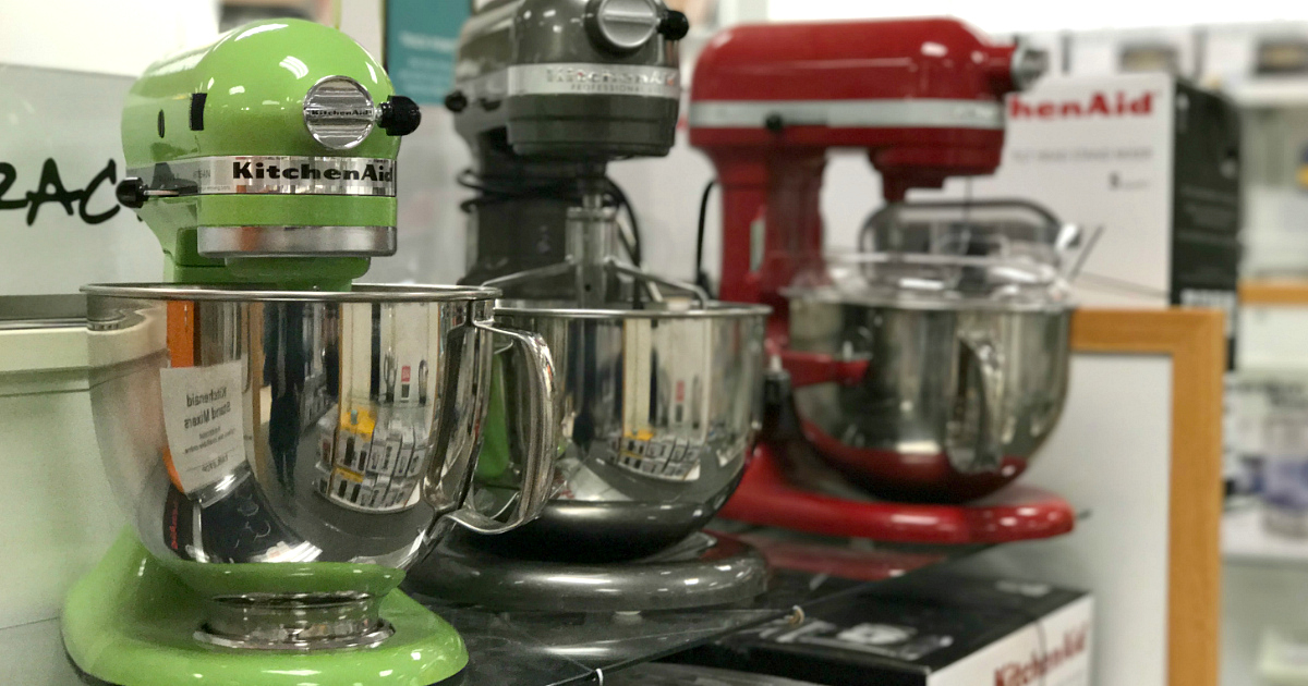kitchenaid mixers on display