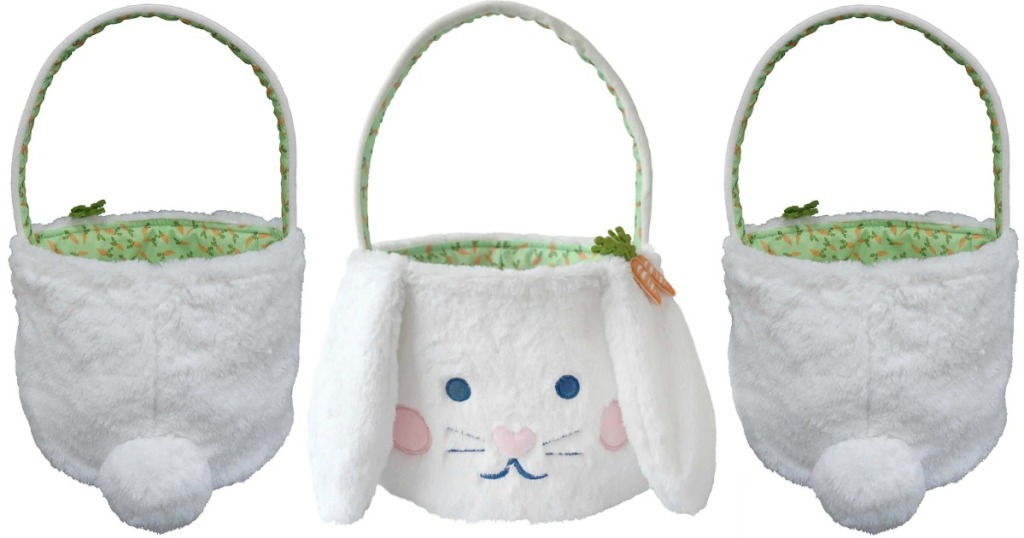 Easter Bunny themed plush basket, front and back view